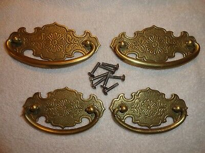 Lot 4 Antique Ornate Solid Brass Drawer Pull Handle Marked BS 80400