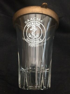 French Vintage Shot Saacma Glass With Lid Griottes A L'armagnac Auto Militaire