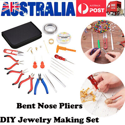 DIY Jewelry Making Craft Nose Pliers Set Straight Bent Tip  Hose Gripper Kit Set
