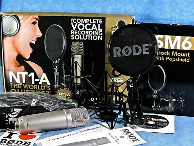 Rode NT1-A Studio Condenser Microphone w/ Shock Mount, Pop Filter, Cable, Box