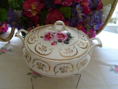 Vintage Imperial Bone China Pink Roses Covered Tureen Perfect For A Tea Set