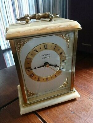 Metamec Carriage Clock Quartz Made In England Brass Faux Marble German Movement