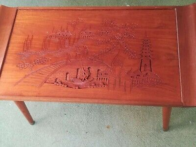 Vintage Oriental Burmese Wooden Coffee Table with Carving Picture