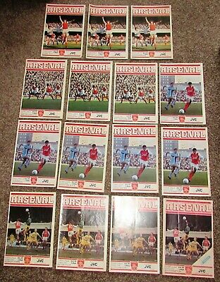 15 Arsenal Home Programmes from the 1981 - 82 Season