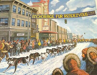 Patrick Sawyer Signed Limited Print Alaskan Fur Iditarod Dog Race, Lathrop Deco