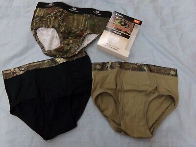 Men's Mossy Oak Camo 3 Pack Moisture Wicking Briefs Underwear Size M 32-34 NEW