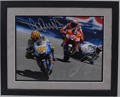 Valentino Rossi And Casey Stoner Hand Signed Motogp Framed Photo Display Proof.