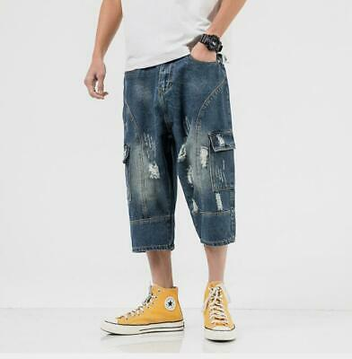 Mens Youth Retro Summer Denim Ripped Pockets Jeans Pants Loose Crop Trousers 799