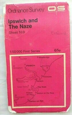 OS Ordnance Survey First Series Map #169 Ipswich & The Naze 1974