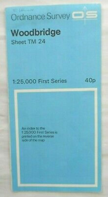 Vintage OS Ordnance Survey First Series Map #TM 24 Woodbridge 1960