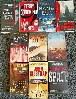 Paperback Book Lot Of 10 Mystery Thriller Suspense Mix Novels Free Shipping  L6