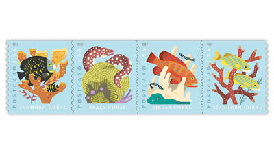 2019 US Stamp -  Coral Reefs - Set of 4 Single from Coil - Scott# 5167-5170