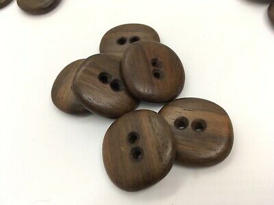 6 Vintage Bubinga Africian Rosewood Hand Carved Jacket Wood Button 1 1/4""