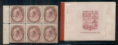 CANADA #77b, 2¢ Booklet Pane of 6, og, NH, VF, also includes empty booklet, rare