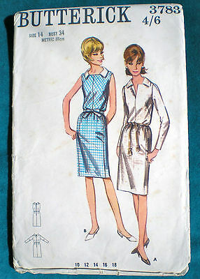 """Lovely Midi Shirtwaister Dress Vintage Orig 1960s Sewing Pattern Bust 34"""""""