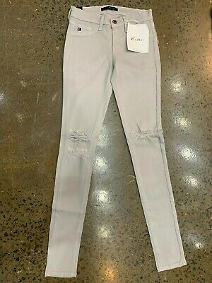 Nwt Ladies Kancan Jeans Stretch Skinny Light Grey Ripped Size 1 /24 99$ Usa
