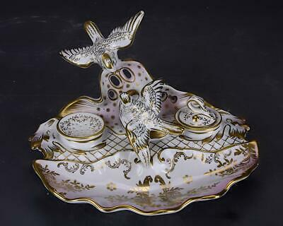 19Th Century European Gilded Porcelain Ink Well