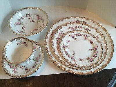 Vintage Rare Royal Albert Dimity Rose Dinner Plate,Salad/Bread/ Bowl/Cup&Saucer