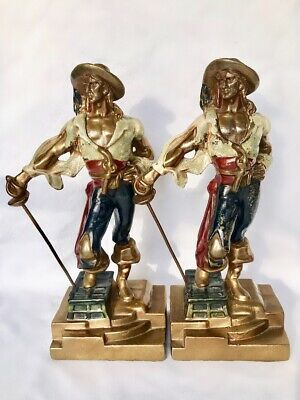 Vintage Pair 1920's ARMOR BRONZE CO. Swashbuckler Pirate Bookends, NR!