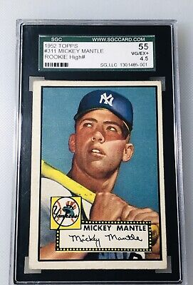 1952 Topps #311 Mickey Mantle RC Rookie Card SGC 55 VG EX+ 4.5 VINTAGE BASEBALL