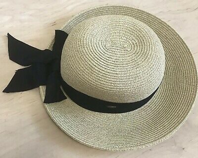 db38f12e Scala Collezione Women's Natural Straw Sun Hat with Black Ribbon Nice