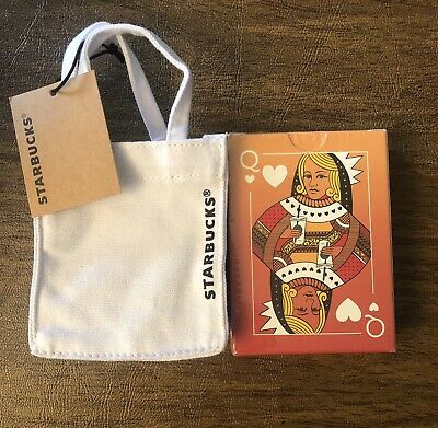 New 2019 Starbucks Mini Canvas Tote Bag, Gift card holder bag w/ Playing Cards