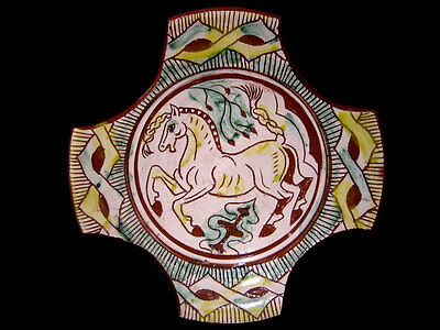 Byzantine Style Tricolor Glazed Sgraffito Terracotta Plate!!!