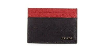 bc14a1ed7790 PRADA Milano Colorblocked Saffiano Leather Card Case Italy Black/Red NEW  W/TAGS