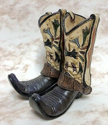 """Pair Of Small Old Cowboy Boots Figurine   3.5"""""""