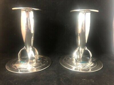Very fine Liberty & co  A. Knox pair pewter / enamel candlesticks