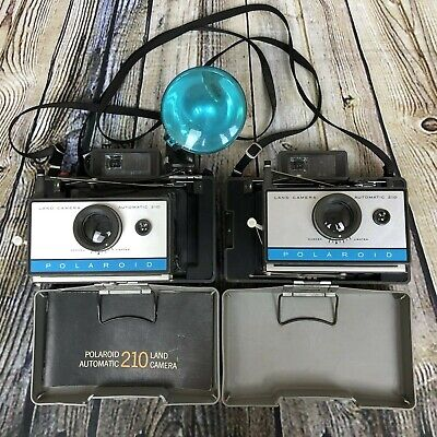 Lot of 2 POLAROID 210 Vintage Automatic Folding Instant Land Camera (1967 - 69)