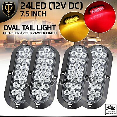 "Clear Lens 2 Red 2 Amber 24 LED 6"" Oval Turn Stop Parking Trailer Tail Light 12V"