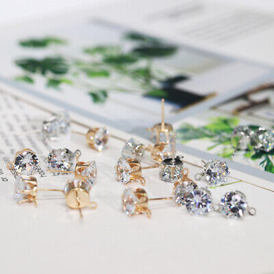 10PCS 6/8mm Round Clear Cubic Zirconia Earring Post Loop Jewelry Making Findings
