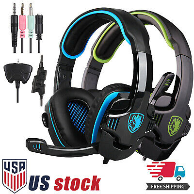 Sades SA708GT HiFi Stereo Bass Headset Headband 3.5mm For PC PS4 Pro Xbox Switch