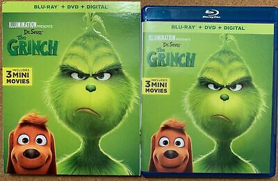 Dr. Seuss The Grinch 2018 Blu Ray Dvd 2 Disc Set + Slipcover Sleeve Free Shippin