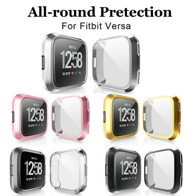 Slim Case Band For Fitbit Versa Plating Protective Cover Screen Protector cases