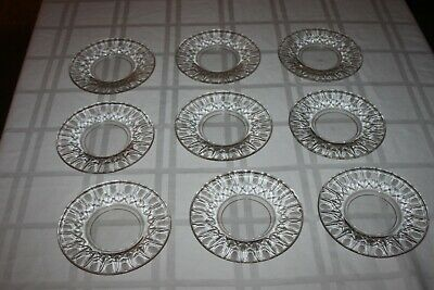 Lot of 9 Edinburgh Crystal Scotland Clear Glass Plate Cross Cut with Olives 6""