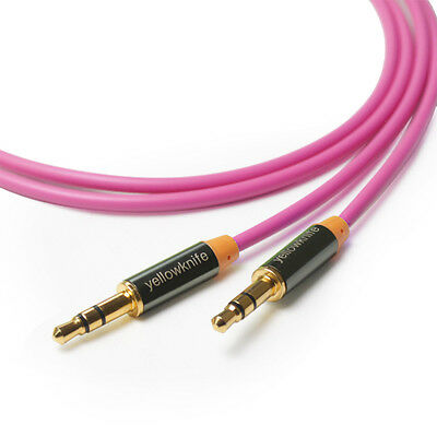 High End 3.5mm Aux Audio Cable M/M GOLD for MP3 Apple iPhone iPod 1M Pink