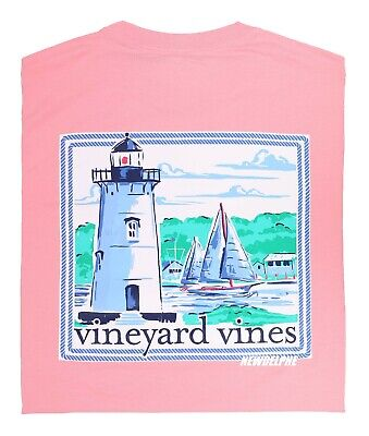 "NWT Vineyard Vines Men SS Whale Pocket Crew T-Shirt Tee ""TICA LIGHTHOUSE"""