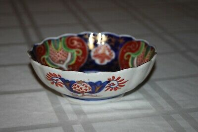 Antique Japanese Arita Imari Porcelain Bowl Blue Gold Scalloped Edge Dish