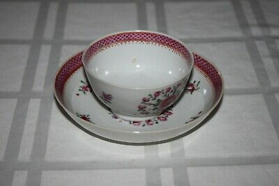 Early Antique Chinese Export Porcelain Handleless Cup & Saucer, Purple