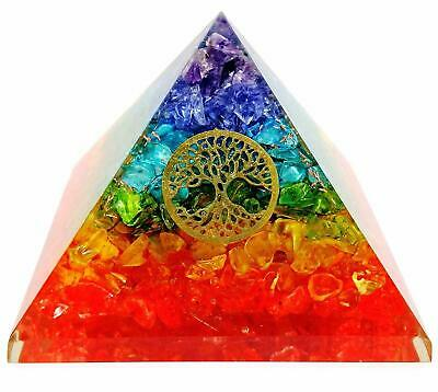 Extra Large 75MM Multi 7 Chakra Natural Crystal Tree of Life Orgone Pyramid
