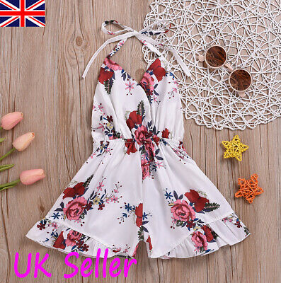 Kids Children Girl Floral Sleeveless Jumpsuit Playsuit Summer Holiday Clothes UK