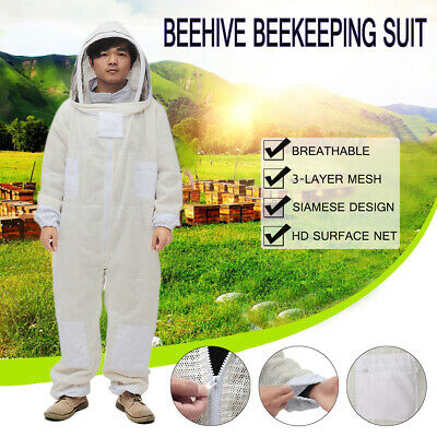 Ultra Ventilated 3 Layer Mesh Beekeeping Bee Full Suit Veil Hood L/Xl/2Xl New