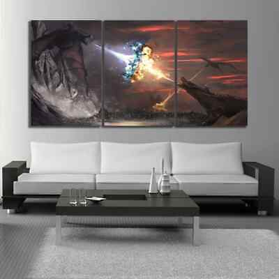 Game Of Thrones Season 8 Ice And Fire Dragon Movie Poster Canvas Painting Home