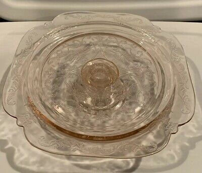 "Footed 10"" Cake Plate Recollection Pink by INDIANA GLASS"