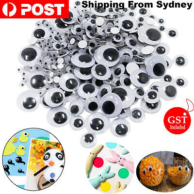 700x Google Googly Eyes Joggle Moveable Black Eye Wiggly Craft Stick On Adhesive