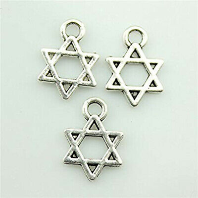 100pcs 13×10mm Star David Charms Antique Silver Tone Pendant for Jewelry Makings