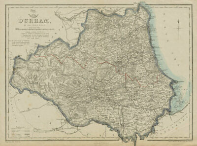 DURHAM. Sunderland Hartlepool. Antique county map. Railways. DOWER 1862