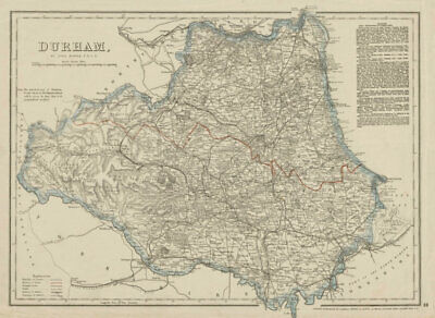 COUNTY DURHAM antique map. Sunderland Hartlepool. Railways. DOWER 1863 old